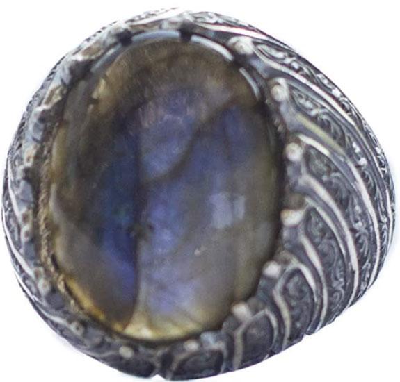 Falcon Jewelry 925 Sterling Silver Men's Ring, Labradorite Natural Gemstone, Steel Pen Craft Ring