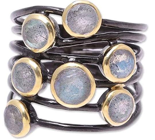 NOVICA Labradorite 18k Yellow Gold Plated Silver Ring, Dew Drops