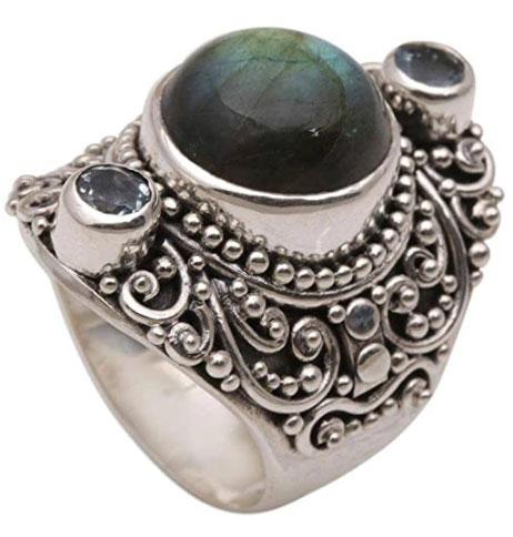 NOVICA Multi-Gem Labradorite .925 Sterling Silver Cocktail Ring, Beguiling Soul
